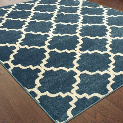 Radtke Scalloped Lattice Blue/Ivory Area Rug Rug Size: Rectangle 710 X 10