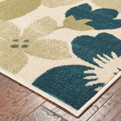 Beadles Bold Bouquet Floral Ivory/Blue Area Rug Rug Size: Rectangle 53 X 7