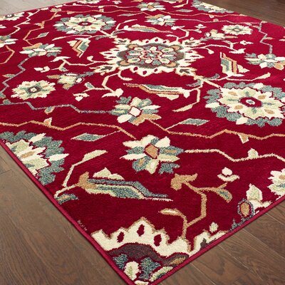 Rachel Borderless Traditional Red Area Rug Rug Size: Rectangle 53 X 7