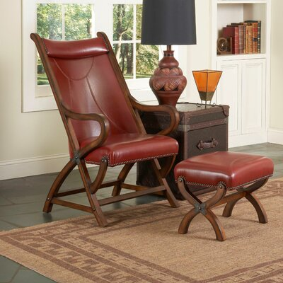 Hunter Lounge Chair and Ottoman Upholstery: Brown Cherry / Red Leather