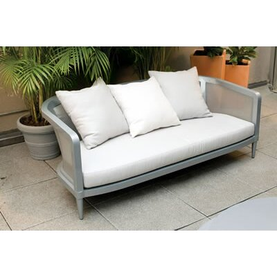 Madison Sofa with Cushions Fabric: White, Finish: Grey