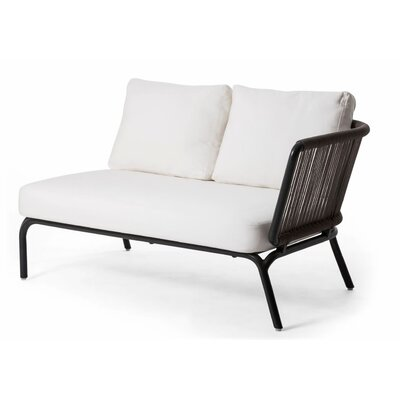 Yland Right Arm Sectional Piece with Cushions Fabric: Lanten Slate, Finish: White / White