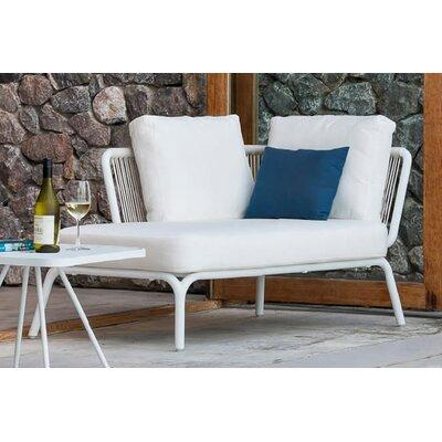 Yland Chaise Lounge with Cushion Fabric: Lanten Slate, Finish: White / White