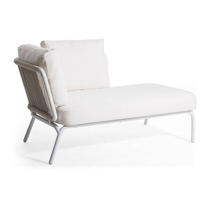 Yland Chaise Lounge with Cushion Fabric: Lanten Slate, Finish: White / White
