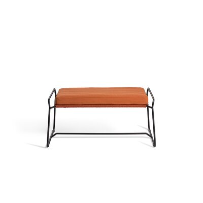 Sandur Ottoman with Cushion Fabric: Cayenne, Finish: Taupe Rope/Stainless Steel