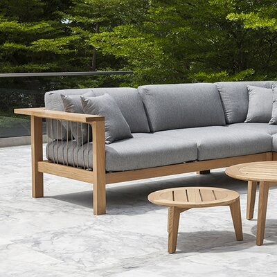 Maro Left Arm Loveseat with Cushions Fabric: Charcoal Chine
