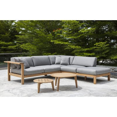 Maro Right Arm Loveseat with Cushions Fabric: Charcoal Chine