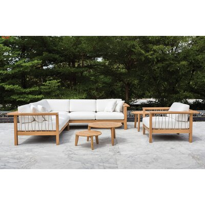 Maro Left Arm Loveseat with Cushions Fabric: Canvas Natural