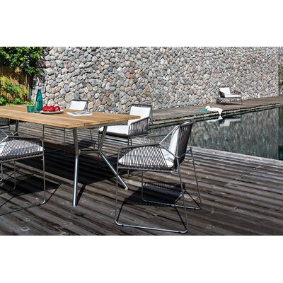 Reef 180 Dining Table� Top Finish: Teak, Base Finish: Stainl. St. Cross Bar