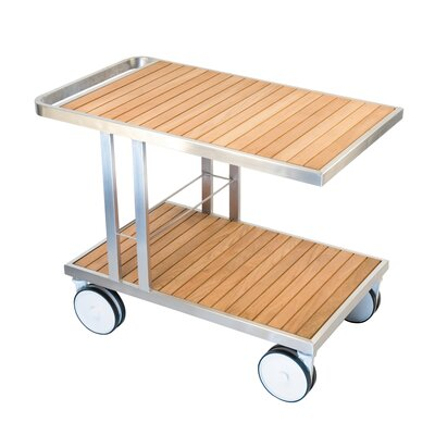 Grace Bar Serving Cart Finish: Aluminum