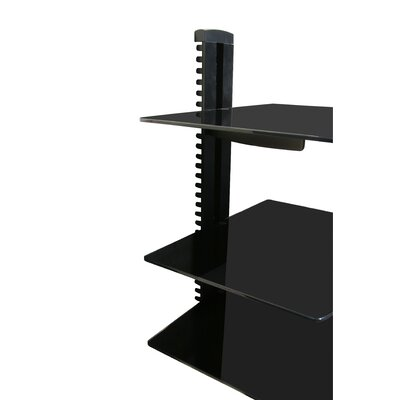 Wall Mounted AV Component Shelving System with 3 Adjustable Tempered Glass Shelves