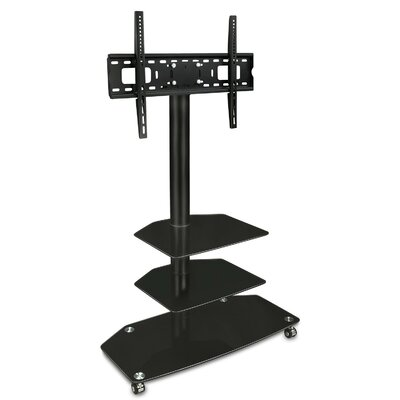 TV Cart Mobile 3 Glass Storage Shelves Fixed Floor Stand Mount 32-60 LCD/Plasma/LED
