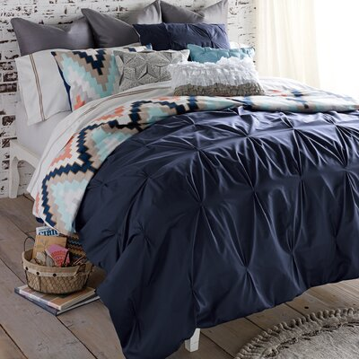 Harper 3 Piece Reversible Duvet Cover Set Size: Queen, Color: Navy