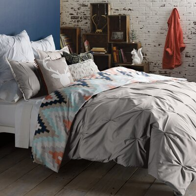 Harper 3 Piece Reversible Duvet Cover Set Size: Queen, Color: Gray