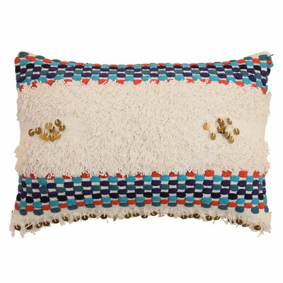 Jamila Embroidered Fringe Lumbar Pillow
