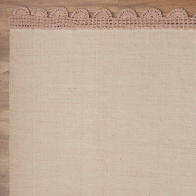 Lace & Grace Blush Hand-Woven Cotton Blush Area Rug Rug Size: Runner 26 x 8