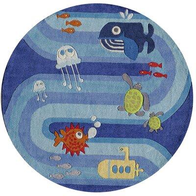 Undersea Adventures Hand-Tufted Blue Kids Rug Rug Size: Round 5'