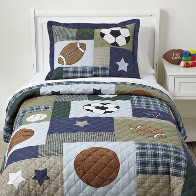 Star Player Quilted Bedding Set Size: Twin