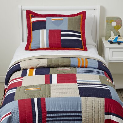 Patchwork Pockets Quilted Bedding Set Size: Full/Queen