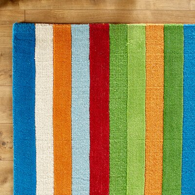Rainbow Hand-Woven Wool Green/Blue/Orange Area Rug Rug Size: Rectangle 2 x 3