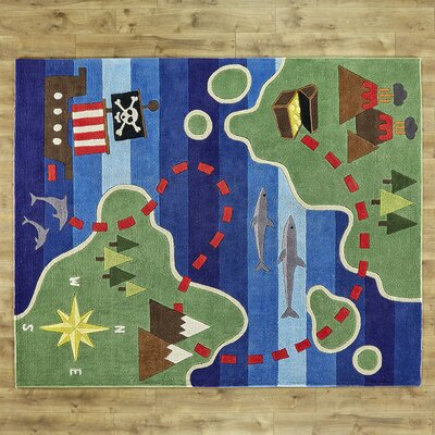 Treasure Map Hand-Tufted Blue/Green Kids Rug
