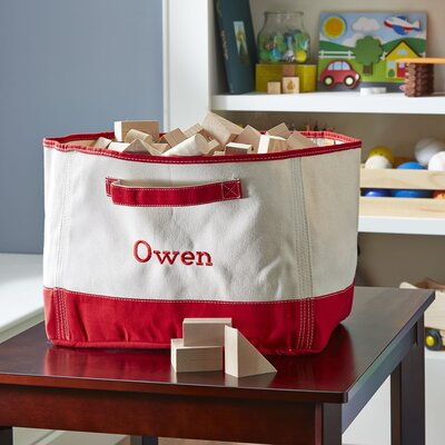 Cleanup Time Monogrammed Canvas Bin Color: Red