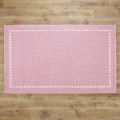 Dotted Line Pink Area Rug