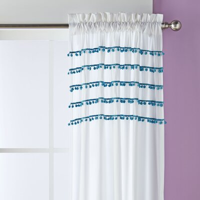 Pom Pom Rows Curtain Panel Color: Aqua