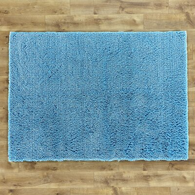 Shaggy Hand-Woven Blue Area Rug Rug Size: Rectangle 76 x 96