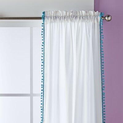 Pom Pom Trim Single Curtain Panel