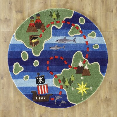 Treasure Map Hand-Tufted Blue/Green Kids Rug Rug Size: Round 5'