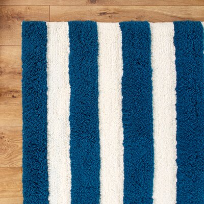 Stripe Out Hand-Woven Navy/white Area Rug Rug Size: Round 3