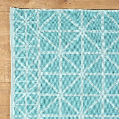 Tri Your Best Aqua Reversible Rug Rug Size: 8 x 11