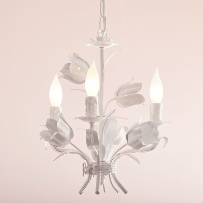 Blooming Bouquet 3-Light Candle-Style Chandelier Finish: White