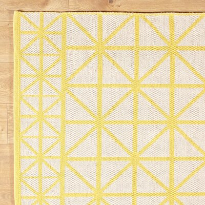 Tri Your Best Yellow Reversible Rug Rug Size: 8 x 11