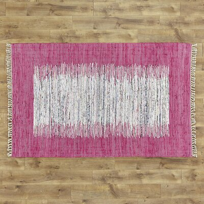 Static Hand-Woven Wool Pink/White Area Rug Rug Size: Rectangle 8 x 10