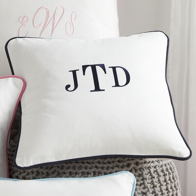 Classic Monogrammed Pillow Cover Color: Navy