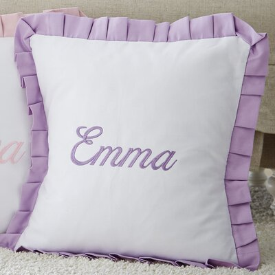 Monogrammed Ruffled Pillow Color: Lavender