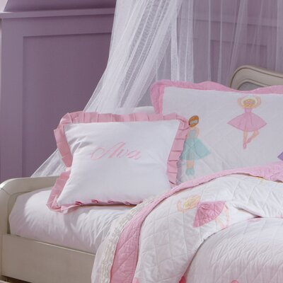 Monogrammed Ruffled Pillow Color: Light Pink