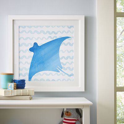 Stingray Watercolor Sea Creatures Framed Print