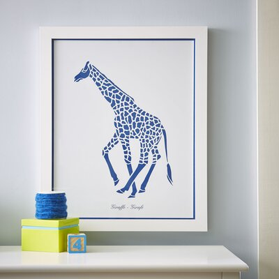 Giraffe Safari Run Framed Print