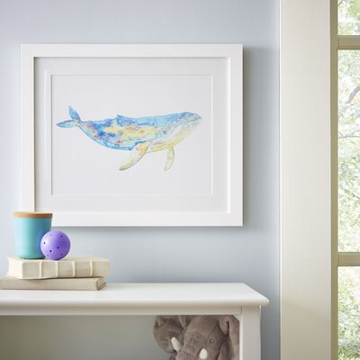 Humpback Whale Watercolor Sea Mammals Framed Print