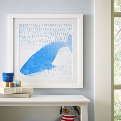 Whale Watercolor Sea Creatures Framed Print
