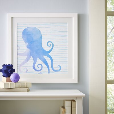Octopus Watercolor Sea Creatures Framed Print