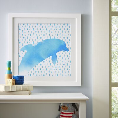 Dolphin Watercolor Sea Creatures Framed Graphic Art Print