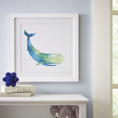Sperm Whale Watercolor Sea Mammals Framed Print