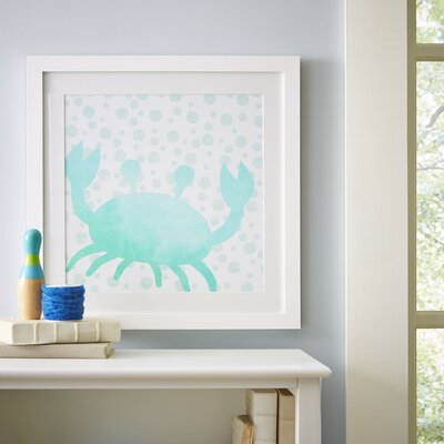 Crab Watercolor Sea Creatures Framed Print