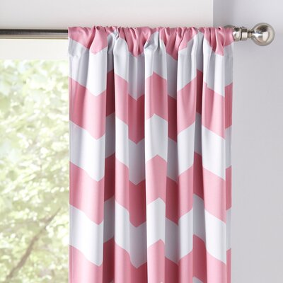 Zigzag Blackout Thermal Curtain Panels Color: Pink