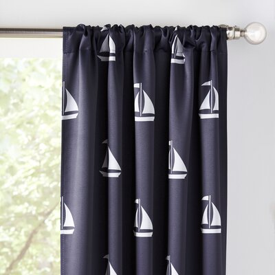 Sailboat Nautical Blackout Thermal Rod Pocket Curtain Panels Color: Navy