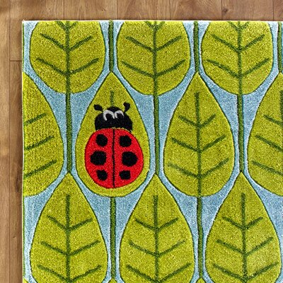 Leaf Lover Hand-Tufted Green/Blue Kids Rug